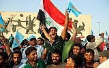 In this May 4, 2018 photo, followers of Shiite cleric Muqtada al-Sadr take part in a campaign rally in Baghdad, Iraq. (AP Photo/Karim Kadim)