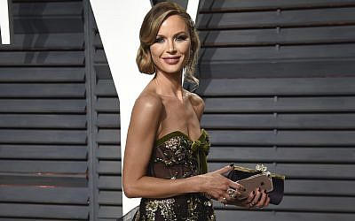 In this Feb. 26, 2017 file photo, fashion designer Georgina Chapman arrives at the Vanity Fair Oscar Party in Beverly Hills, Calif.  (Evan Agostini/Invision/AP)