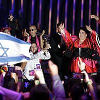 Israel's Netta Barzilai celebrates after winning the Eurovision song contest in Lisbon, Portugal, Saturday, May 12, 2018. (AP Photo/Armando Franca)