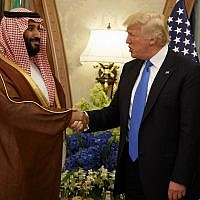 In this May 20, 2017, file photo, President Donald Trump shakes hands with Saudi Deputy Crown Prince and Defense Minister Mohammed bin Salman in Riyadh. (AP Photo/Evan Vucci)