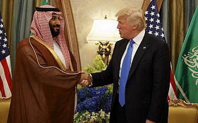 In this May 20, 2017, file photo, US President Donald Trump shakes hands with Saudi Deputy Crown Prince and Defense Minister Mohammed bin Salman in Riyadh. (AP Photo/Evan Vucci)