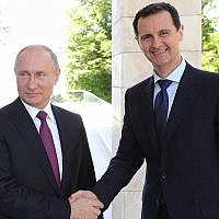 Russian President Vladimir Putin, left, shakes hands with Syrian President Bashar Assad during their meeting in the Black Sea resort of Sochi, Russia, May 17, 2018. (Mikhail Klimentyev, Sputnik, Kremlin Pool Photo via AP)