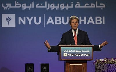 Former US Secretary of State, John Kerry, talks during the New York University Abu Dhabi (NYUAD) fifth edition of the Commencement Exercises, in Abu Dhabi, United Arab Emirates, Sunday, May 20, 2018. (AP/Kamran Jebreili)