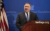 """Secretary of State Mike Pompeo speaks at the Heritage Foundation in Washington, Monday, May 21, 2018. Pompeo issued a steep list of demands Monday that he said should be included in a nuclear treaty with Iran to replace the Obama-era deal, threatening """"the strongest sanctions in history"""" if Iran doesn't change course. (AP Photo/J. Scott Applewhite)"""