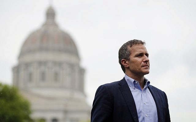 In this May 17, 2018 file photo, Missouri Gov. Eric Greitens looks on before speaking at an event near the capitol in Jefferson City, Mo. . (AP Photo/Jeff Roberson)