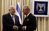 President Reuven Rivlin, left, meets with Britain's Prince Charles following the funeral of former Israeli president Shimon Peres, at the President's Residence in Jerusalem, September 30, 2016. (Gali Tibbon, Pool via AP)