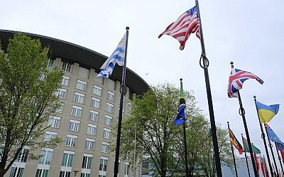 Exterior view of the headquarters of the Organization for the Prohibition of Chemical Weapons, OPCW, in The Hague, Netherlands, Friday, May 5, 2017 (AP Photo/Peter Dejong)