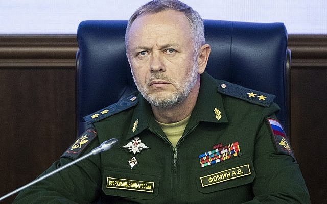 Deputy Defense Minister Alexander Fomin attends a briefing in the Defense Ministry in Moscow, Russia, May 5, 2017. (Pavel Golovkin/AP)