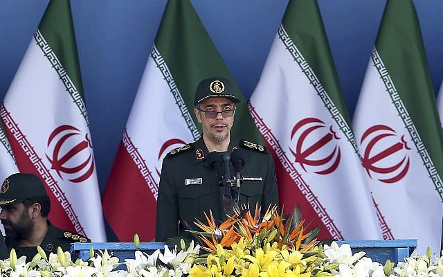 Chief of Staff of Iran's Armed Forces, General Mohammad Hossein Bagheri delivers a speech during a military parade marking the 36th anniversary of Iraq's 1980 invasion of Iran, in front of the shrine of late revolutionary founder Ayatollah Khomeini, just outside Tehran, Iran, on September 21, 2016. (AP Photo/Ebrahim Noroozi)