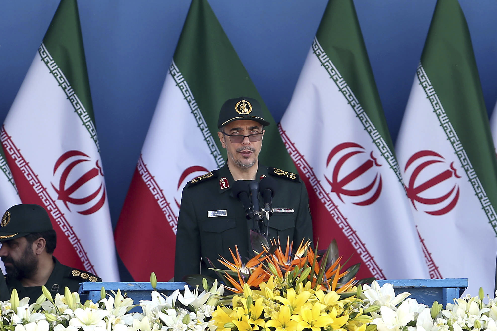 Chief of Staff of Iran's Armed Forces General Mohammad Hossein Bagheri delivers a speech during a military parade marking the 36th anniversary of Iraq's 1980 invasion of Iran in front of the shrine of late revolutionary founder Ayatollah Khome