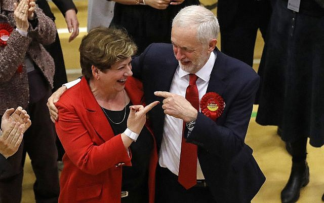 Britain's Labour party leader Jeremy Corbyn, right, with Labour's Emily Thornberry after arriving for the declaration at his constituency in London, June 9, 2017. (AP Photo/Frank Augstein)