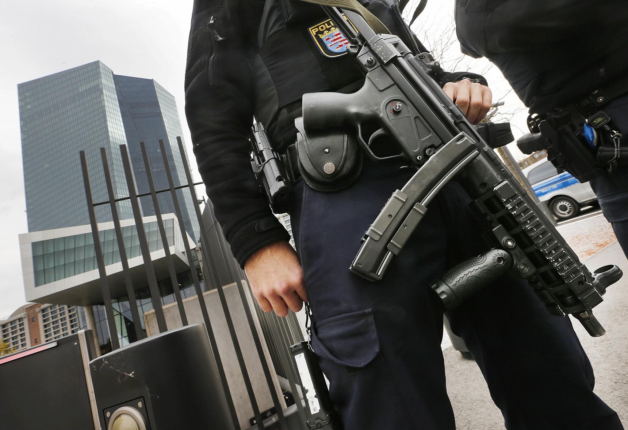 Illustrative A German Police Officer Stands Guard In Frankfurt Germany October