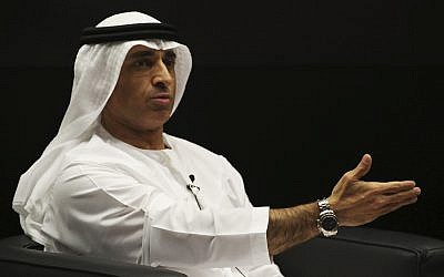 Emirati Ambassador to the US Yousef al-Otaiba gestures during an event with US House Speaker Paul Ryan, at the Emirates Diplomatic Academy, in Abu Dhabi, United Arab Emirates, Thursday, Jan. 25, 2018. (AP Photo/Jon Gambrell)