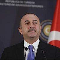 Turkey's Foreign Minister Mevlut Cavusoglu in Ankara, Turkey, February 16, 2018. (AP Photo/ Burhan Ozbilici)