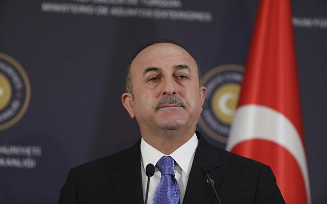 Turkey's Foreign Minister Mevlut Cavusoglu in Ankara, Turkey, February 16, 2018. (AP Photo/ Burhan Ozbilici)
