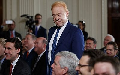 Australian businessman Anthony Pratt, executive chairman of Visy Industries and Pratt Industries in America, stands during a news conference with US President Donald Trump and Australian Prime Minister Malcolm Turnbull in the East Room of the White House on February 23, 2018. (AP Photo/Carolyn Kaster)