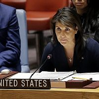 United States Ambassador to the United Nations Nikki Haley speaks at a Security Council meeting at United Nations headquarters, Thursday, April 19, 2018. (AP Photo/Seth Wenig)