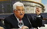 Palestinian Authority President Mahmoud Abbas speaks during a meeting of the Palestinian National Council at his headquarters in the West Bank city of Ramallah, on April 30, 2018. (AP/Majdi Mohammed)