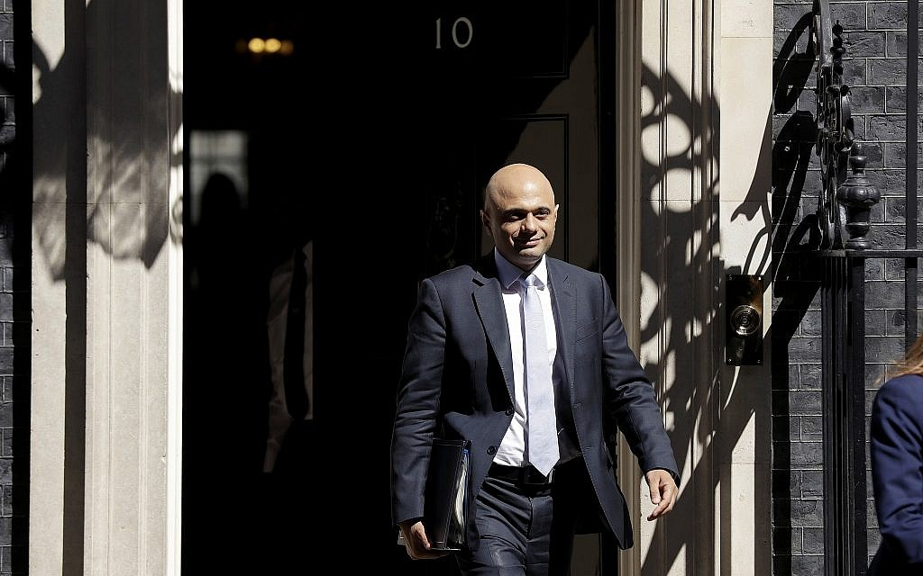 Britain's newly appointed Home Secretary Sajid Javid leaves after a cabinet meeting at 10 Downing Street in London, Tuesday, May 1, 2018. (AP Photo/Matt Dunham)