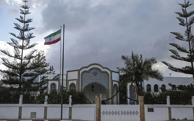A view of the embassy of Iran in Rabat, Morocco, Tuesday, May 1, 2018. (AP Photo/Mosa'ab Elshamy)