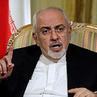 In this April 24, 2018, photo, Iran's Foreign Minister Mohammad Javad Zarif is interviewed by The Associated Press in New York. (AP Photo/Richard Drew,)