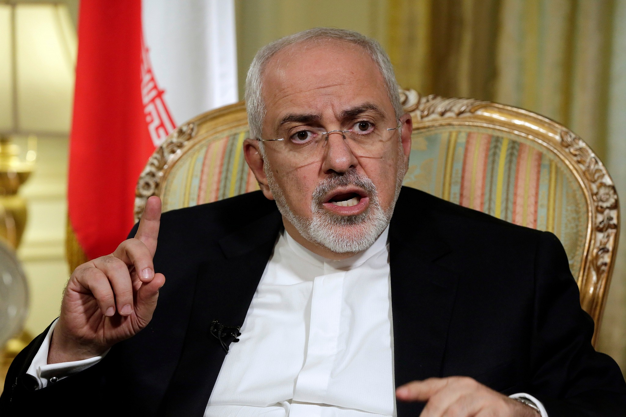 Iran's Foreign Minister Mohammad Javad Zarif is interviewed by The Associated Press in New York
