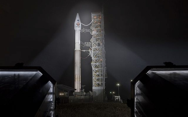 This photo released by NASA shows a United Launch Alliance (ULA) Atlas-V rocket with NASA's InSight spacecraft onboard shortly after the mobile service tower was rolled back, Friday, May 4, 2018, at Vandenberg Air Force Base in California (Bill Ingalls/NASA via AP)