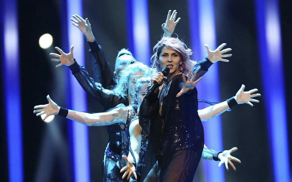 Lea Sirk from Slovenia performs the song 'Hvala, ne!' in Lisbon, Portugal, Friday, May 11, 2018 during a dress rehearsal for the Eurovision Song Contest (AP Photo/Armando Franca)