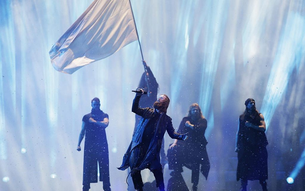 Rasmussen from Denmark performs the song 'Higher Ground' in Lisbon, Portugal, Friday, May 11, 2018 during a dress rehearsal for the Eurovision Song Contest (AP Photo/Armando Franca)