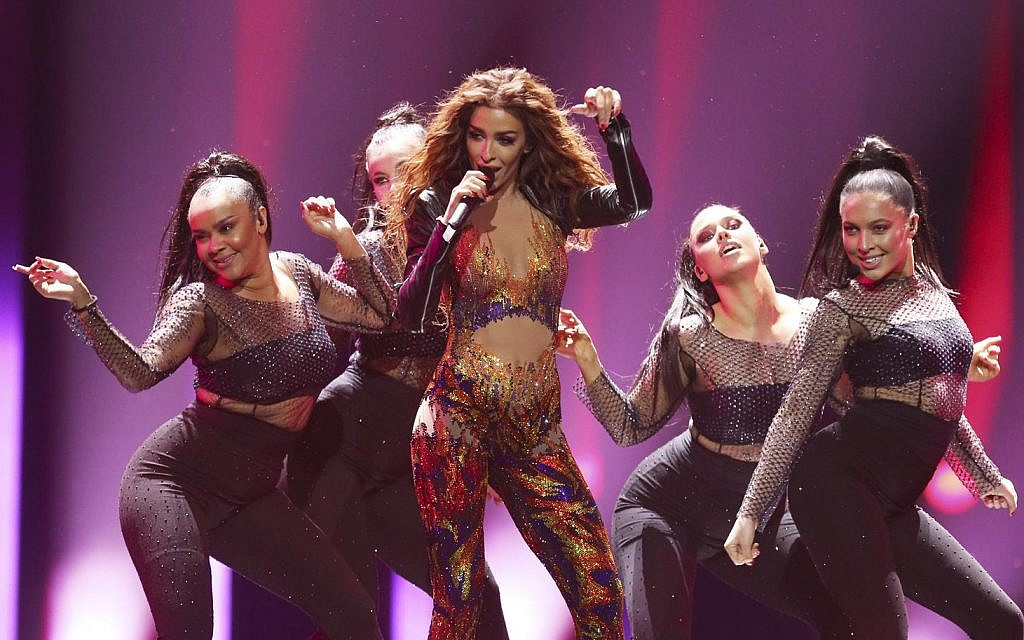 Eleni Foureira from Cyprus performs the song 'Fuego' in Lisbon, Portugal, Friday, May 11, 2018 during a dress rehearsal for the Eurovision Song Contest (AP Photo/Armando Franca)