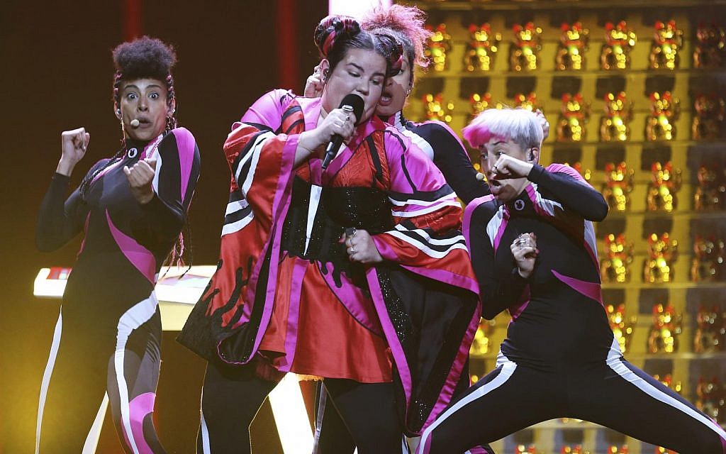 Netta from Israel performs the song 'Toy' in Lisbon, Portugal, Friday, May 11, 2018 during a dress rehearsal for the Eurovision Song Contest (AP Photo/Armando Franca)