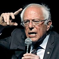 US Senator Bernie Sanders responds to a question during a town hall meeting in Jackson, Mississippi, April 4, 2018. (AP Photo/Rogelio V. Solis)