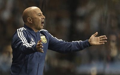 Argentina's coach Jorge Sampaoli shouts instructions to his players during a friendly soccer match between Argentina and Haiti at the Bombonera stadium in Buenos Aires, Argentina, Tuesday, May 29, 2018. (AP Photo/Natacha Pisarenko)