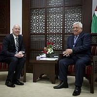 US President's peace process envoy Jason Greenblatt, left, meets with Palestinian Authority President Mahmoud Abbas at the President's office in the West Bank city of Ramallah, Tuesday, March 14, 2017. (AP Photo/Majdi Mohammed)