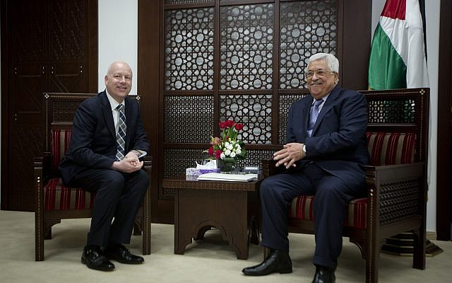 US President's peace process envoy Jason Greenblatt, left, meets with Palestinian Authority President Mahmoud Abbas at the President's office in the West Bank city of Ramallah, March 14, 2017. (AP Photo/Majdi Mohammed)