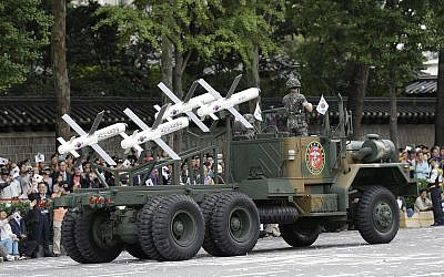 Israeli-made Spike missiles are displayed during a street parade marking the 65th anniversary of the Armed Forces Day in Seoul, South Korea, October 1, 2013. (AP/Lee Jin-man)