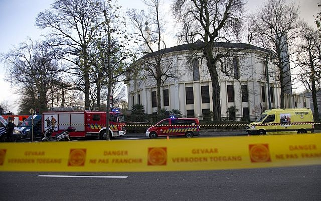 Illustrative: Police and fire personnel respond outside the Grand Mosque of Brussels on Thursday, November 26, 2015. Emergency personnel responded at the mosque after a suspicious package was found. (AP Photo/Virginia Mayo)