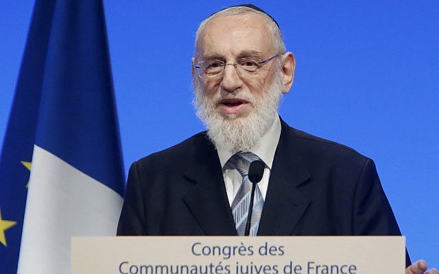Chief Rabbi Michel Gugenheim of Paris delivers a speech on June 2, 2013, in Paris, France. (AP Photo/Jacques Brinon, Pool)