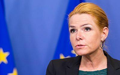 Danish Minister for Immigration, Integration and Housing Inger Stojberg addresses the media on January 6, 2016. (AP Photo/Geert Vanden Wijngaert)