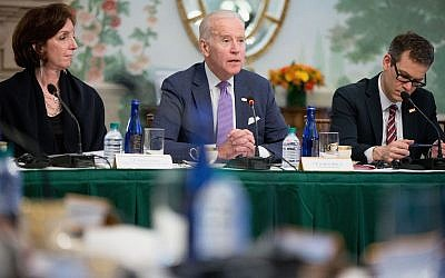 Then Vice President Joe Biden, center, flanked by Assistant Secretary of State for Western Hemisphere Affairs Roberta Jacobson, left, and National Security Adviser to the Vice President Colin Kahl, at the Blair House in Washington, February 24, 2016. (Andrew Harnik/AP)