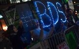 Illustrative: BDS supporters in New York, October 2015. (BDS Facebook page via JTA)