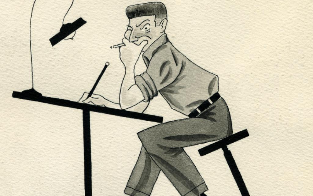 Self-portrait at drawing table, René Goscinny, 1948. (© Anne Goscinny)