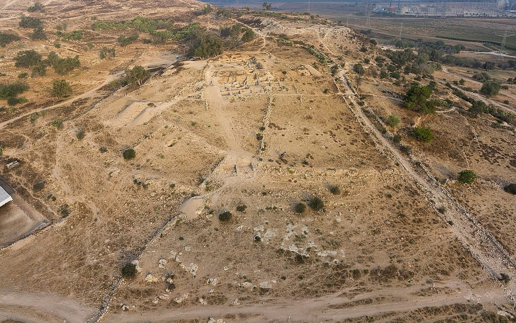 Aerial view of the excavations of biblical Gath, modern Tell es-Safi. (Skyview Inc.)