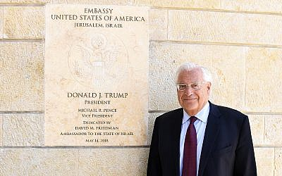 US Ambassador to Israel David Friedman at the US embassy's new site in Jerusalem, May 30, 2018, posing ahead of a Times of Israel interview. (Matty Stern, US Embassy Jerusalem)