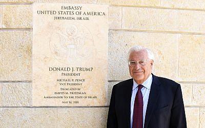US Ambassador to Israel David Friedman at the US embassy, Jerusalem, May 30, 2018, posing ahead of a Times of Israel interview (Matty Stern, US embassy Jerusalem)