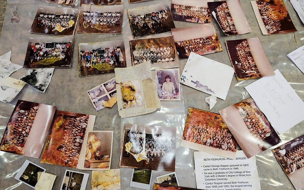 Photos laid out to dry at Congregation Beth Yeshurun (Michael C. Duke)