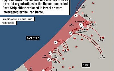 A map distributed on May 30, 2018 by the Israeli military, detailing the targets of more than 100 mortar shells and rockets fired from the Gaza Strip that either landed in Israeli territory or were intercepted by the Iron Dome anti-missile system. (IDF Spokesperson's Unit)