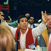 A broker at the Tel Aviv Stock exchange. (Moshe Shai/Flash90)
