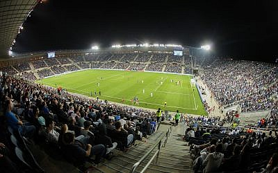 Illustrative photo of Jerusalem's Teddy Stadium during an international soccer match, on October 10, 2015. (Flash90)