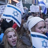 Illustrative: Demonstrators expressing their support for Israel in Times Square, New York City, on October 18, 2015. (Amir Levy/Flash90)